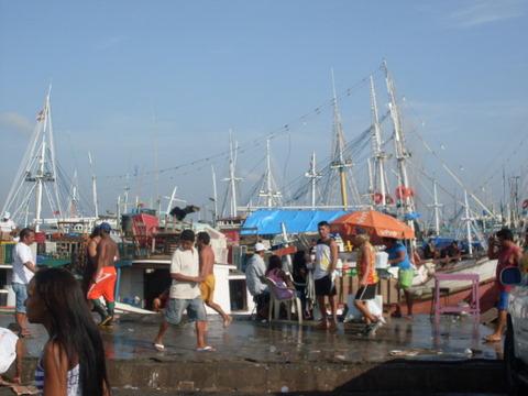 Barcos na frente do Ver o peso, urubu aterrissando.